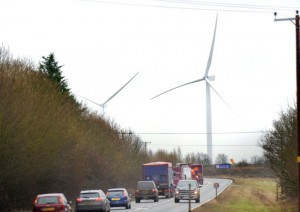 2 new wind turbines recently erected on the former airfield at Eye in Suffolk