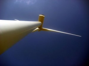 wind turbine in France from below blades